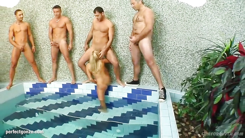 Group blowjob given by cock hungry Myra Lyon
