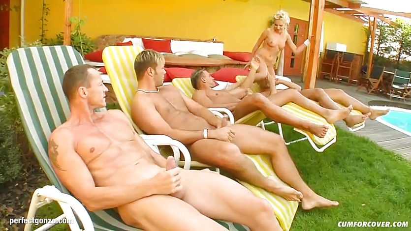 Group cumshots for blonde Kissy on Cum For Cover