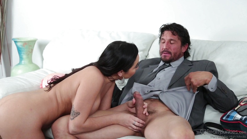 Naughty dad gets balls deep in Karlee Grey