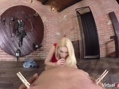 Blonde Angel Wicky gobbles down this hard dick