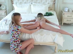 Skinny real flexi doll stretched and teased