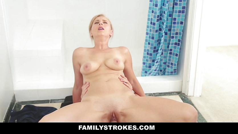 Blonde Milf Fucks Stepson in the bathroom