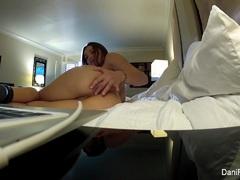 Horny Dani keeps her socks on as she masturbates