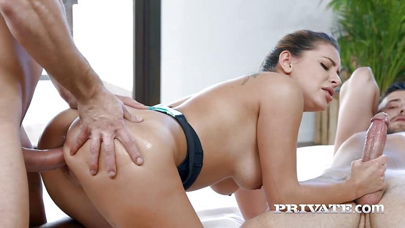 Teen Ally Jones enjoys threesome
