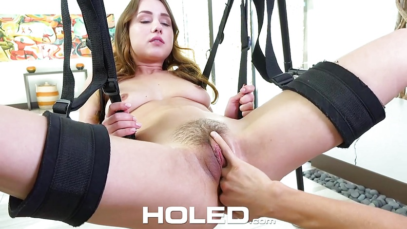 sexy Taylor Sands asshole fucked on the sex swing