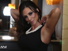 Hot milf Ariella Ferrara rams a huge black dildo in her pussy