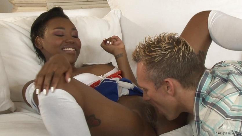 Spunking on the sexy black ass of Ashton Devine