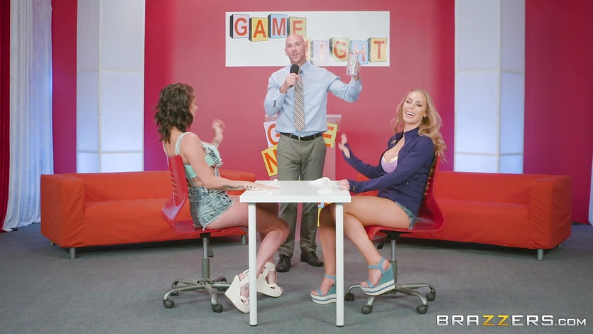 Cum competing game show with Nicole Aniston and Peta Jensen