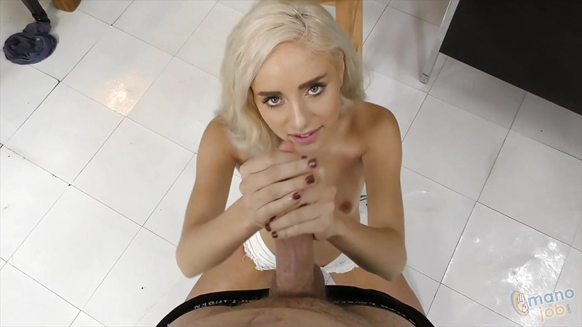 Sexy Naomi Woods jerks this hard cock