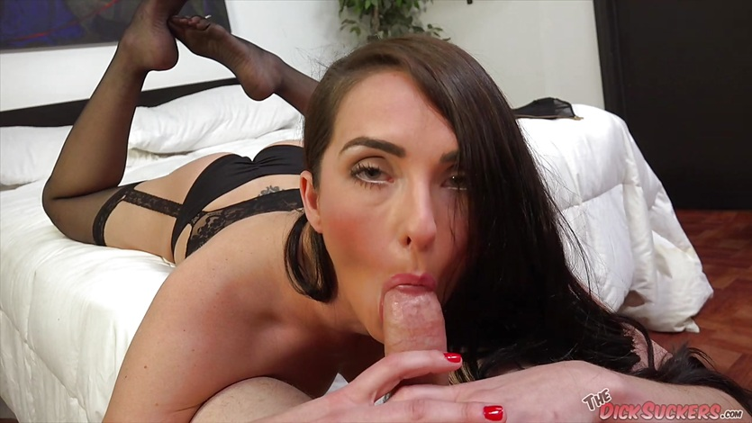 Lingerie clad Bianca Breeze drools over this hard cock