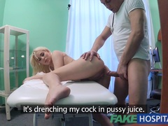 Horny patient with soaking wet pussy squirt