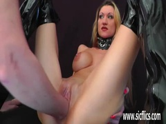 Hot MILF fisted and fucked with a huge dildo