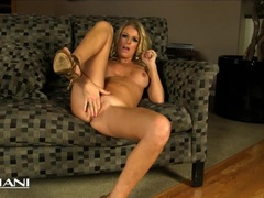 Sexy blonde Milf dildos her moist pussy for you
