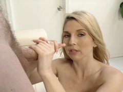 Babe Christie Stevens plays with this hard cock