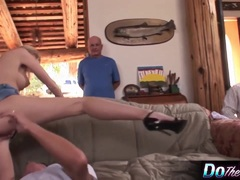 Blonde wife Aimee takes cock in front of her hubby