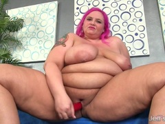 Big boobed fatty uses sex toys to orgasm