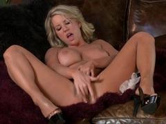 Masturbating with sexy blonde babe