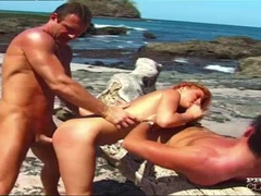 Agnes DP Threesome on the Beach