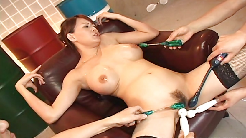 Horny Asian brunette milf then cumming all over her tits