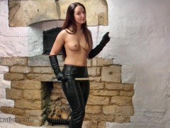 Hot dom rubs tits in leather and topless with whip
