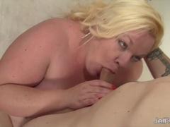 Chubby woman sucks dick and gets doggystyle fucking