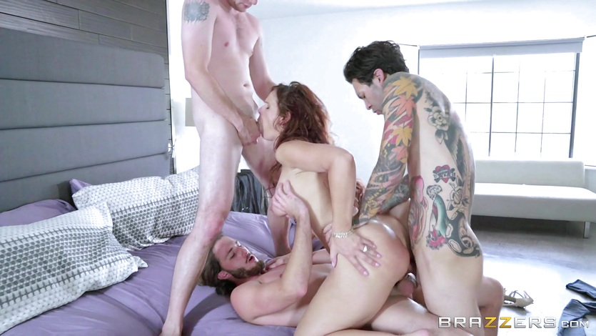 3 big dicked stepsons fuck MILF Syren Damer