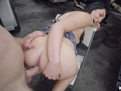 Slamming cock into Jessica Cage out in public