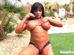 Sexy fit Milfs dildo outdoors for your hard dick