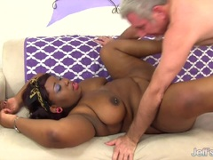 Black BBW Has White Dick Stuffed in Her Mouth and Pussy