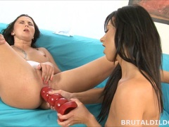 Sofia Gadget filled with massive dildo until anal prolapse