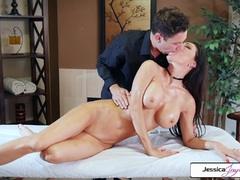 Jessica Jaymes takes Brad's huge cock and gets nailed