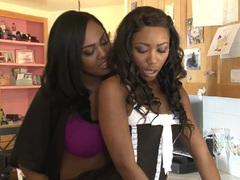 Kinky ebony minge eating lesbians Layton Benton and Chanell Heart