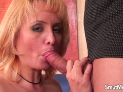 Mature blonde mom gets fucked