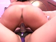 Asian girl screws first time college lesbian with big strapon