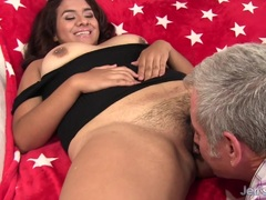 Hairy chubby girl takes fat dick