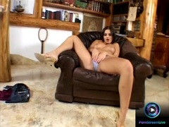 Horny brunette Eve Angel playing with her clit