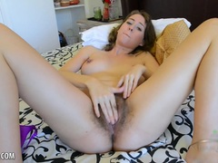 Hot girl with hair pussy does her thing