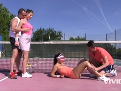 Kinky Antonia Sainz and Ana Rose In A Sporty Blowjob Frousome