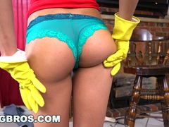 Sexy Maid cleans his balls out