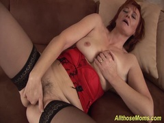 Hot stepmom fist her hairy pussy