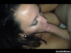 Kinky milf with a vacuum mouth eating cock