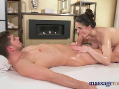 Massage Rooms Hot brunette cant help squirting
