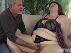 Plump Cherie spreads her cheeks while being fucked