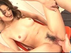 Risa Murakami feels pressure down her hairy pussy