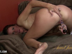 MILFY Sofie Marie fucks her pussy with a glass dildo