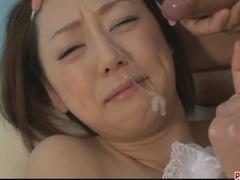 Naughty Asian Rina Yuuki sprayed with man gravy