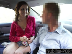 Naughty College Teen Pays Uber Driver