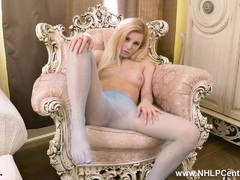 Sexy petite blonde strips and wanks in nylon pantyhose