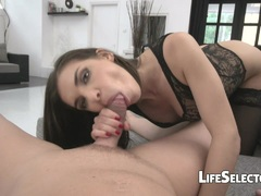 Kinky brunette Henessy sucks and rides to keep her job