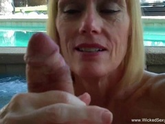 Kinky Granny BJ From The Pool In The Backyard